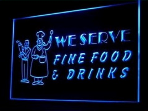 Fine Food Drinks Cafe LED Neon Sign